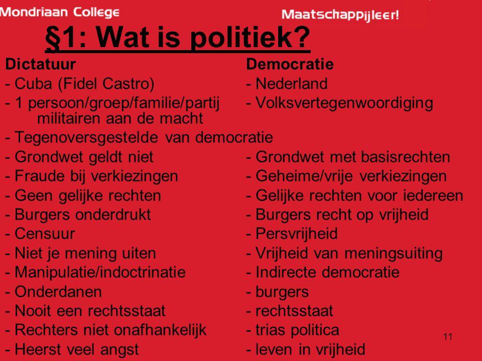 §1: Wat is politiek Dictatuur Democratie