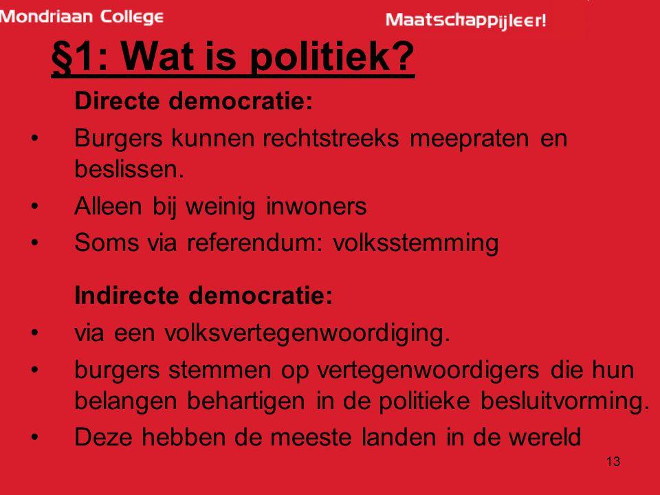 §1: Wat is politiek Directe democratie: