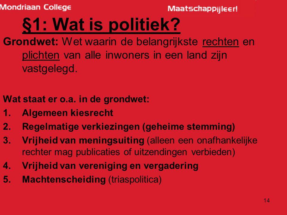 §1: Wat is politiek Grondwet: Wet waarin de belangrijkste rechten en plichten van alle inwoners in een land zijn vastgelegd.