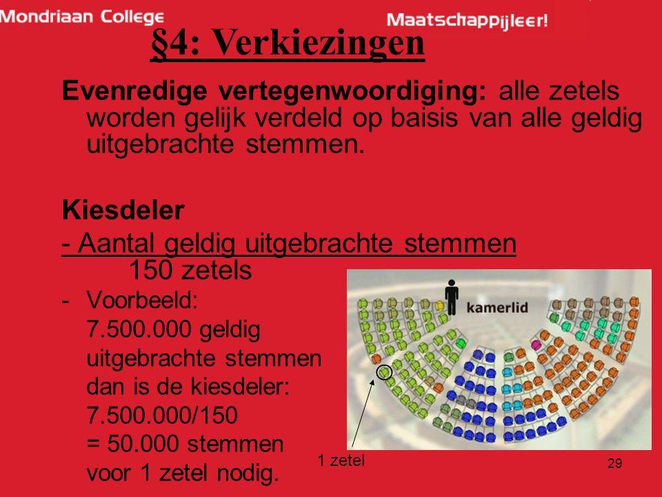 §4: Verkiezingen Evenredige vertegenwoordiging: alle zetels worden gelijk verdeld op baisis van alle geldig uitgebrachte stemmen.