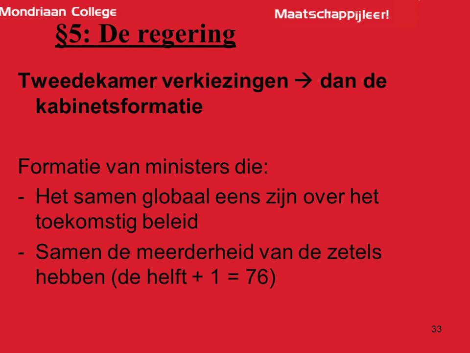 §5: De regering Tweedekamer verkiezingen  dan de kabinetsformatie