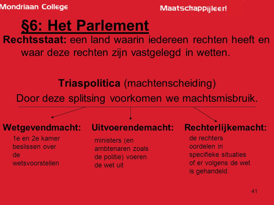 §6: Het Parlement Rechtsstaat: een land waarin iedereen rechten heeft en waar deze rechten zijn vastgelegd in wetten.