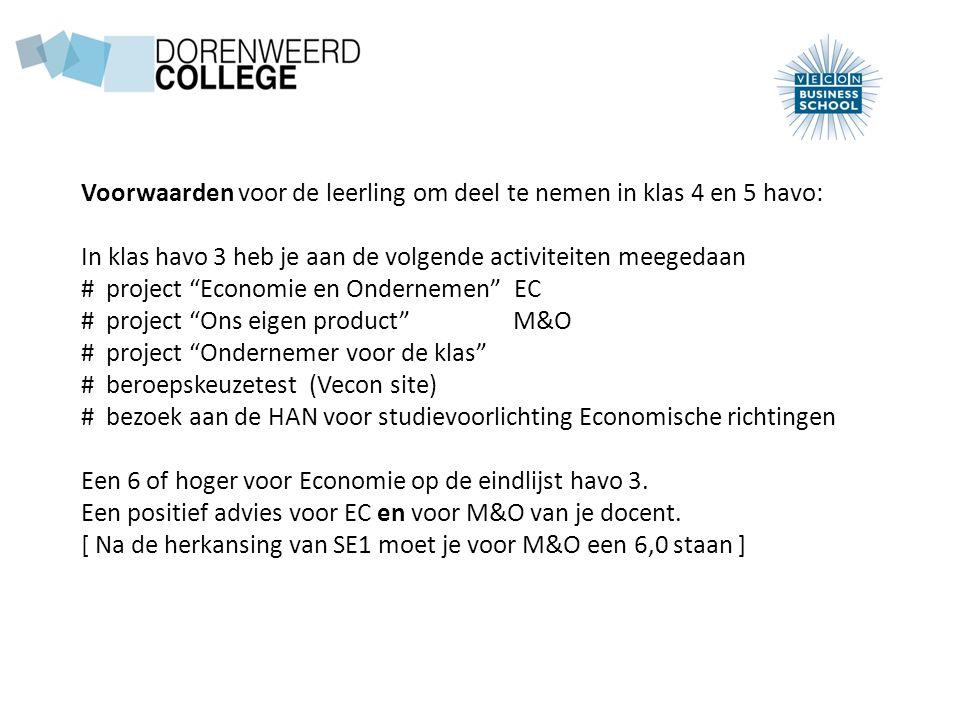 Voorwaarden voor de leerling om deel te nemen in klas 4 en 5 havo: