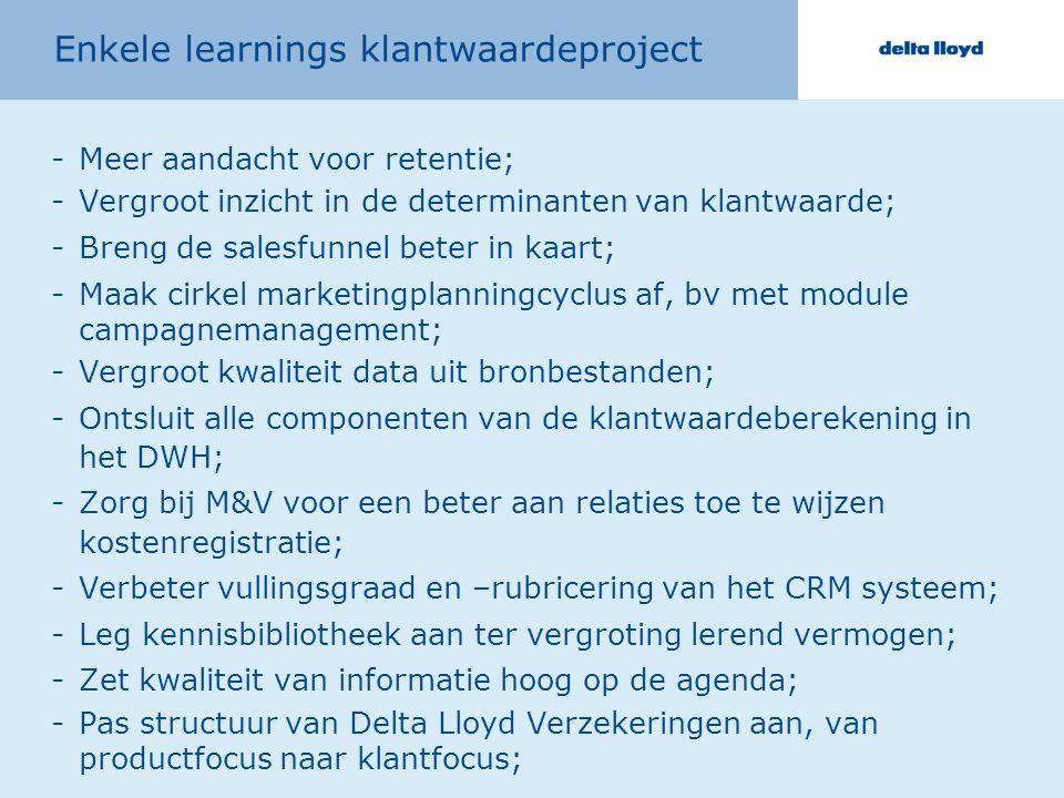 Enkele learnings klantwaardeproject