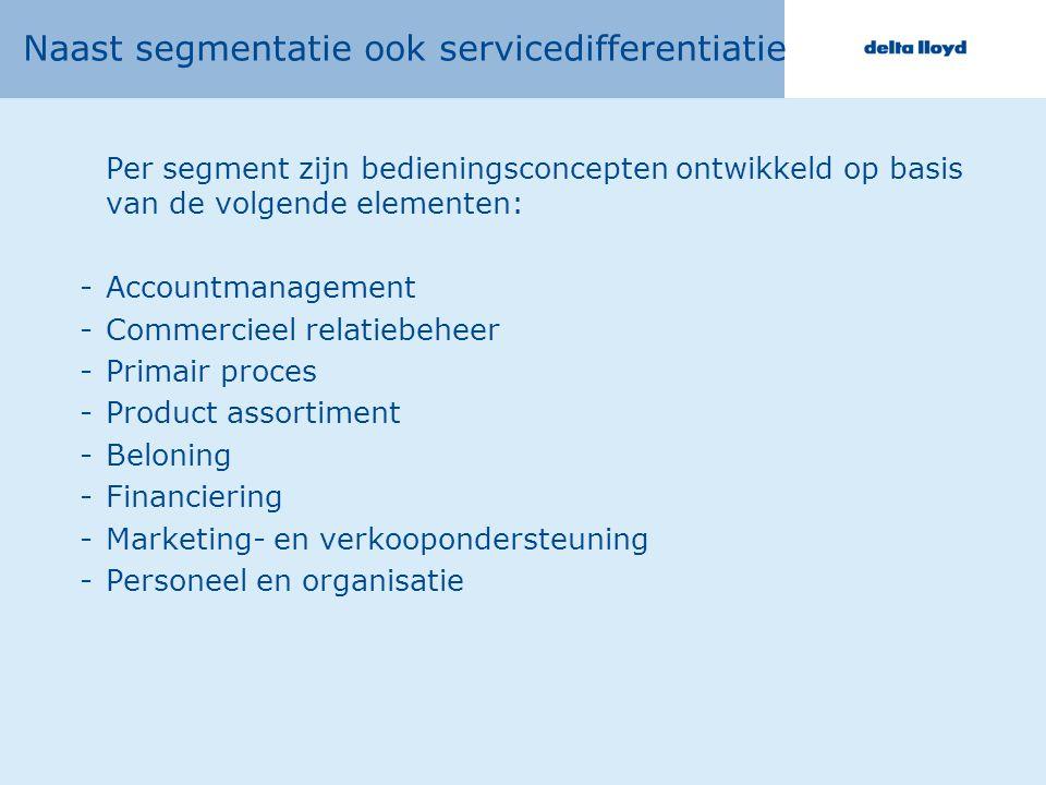 Naast segmentatie ook servicedifferentiatie