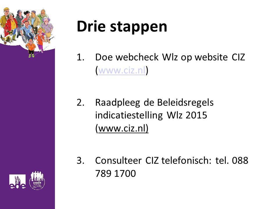 Drie stappen Doe webcheck Wlz op website CIZ (www.ciz.nl)