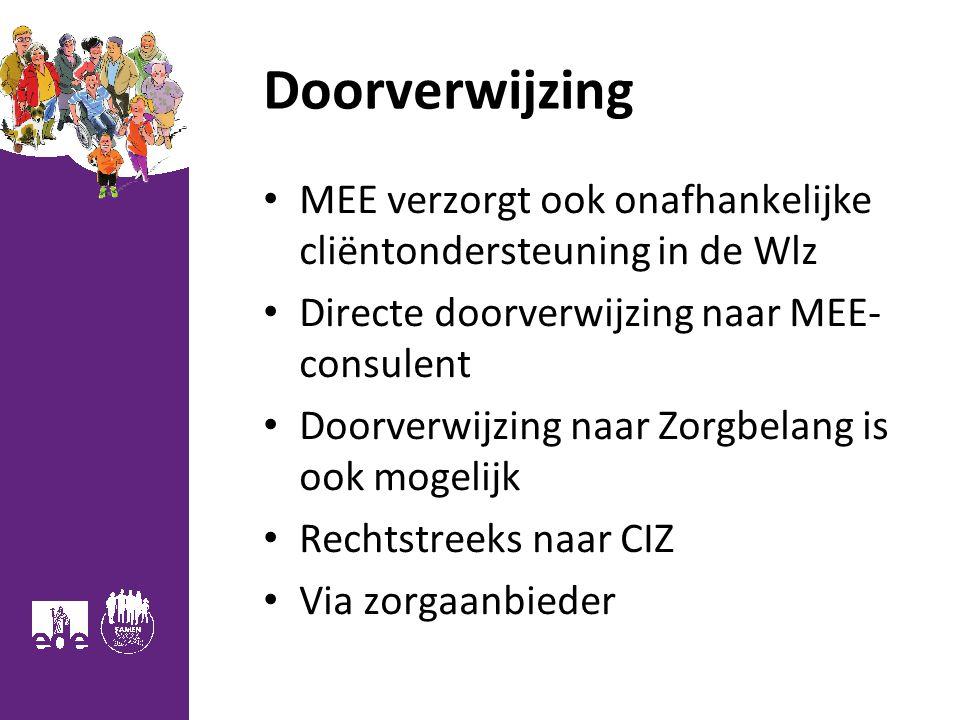 Doorverwijzing MEE verzorgt ook onafhankelijke cliëntondersteuning in de Wlz. Directe doorverwijzing naar MEE- consulent.
