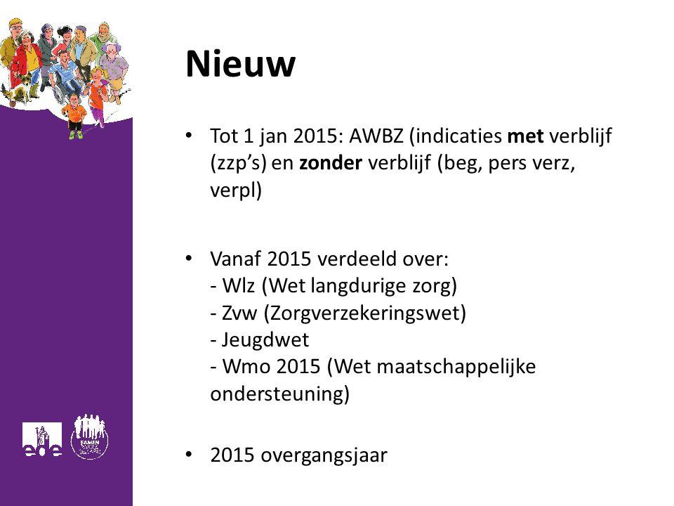 Nieuw Tot 1 jan 2015: AWBZ (indicaties met verblijf (zzp's) en zonder verblijf (beg, pers verz, verpl)