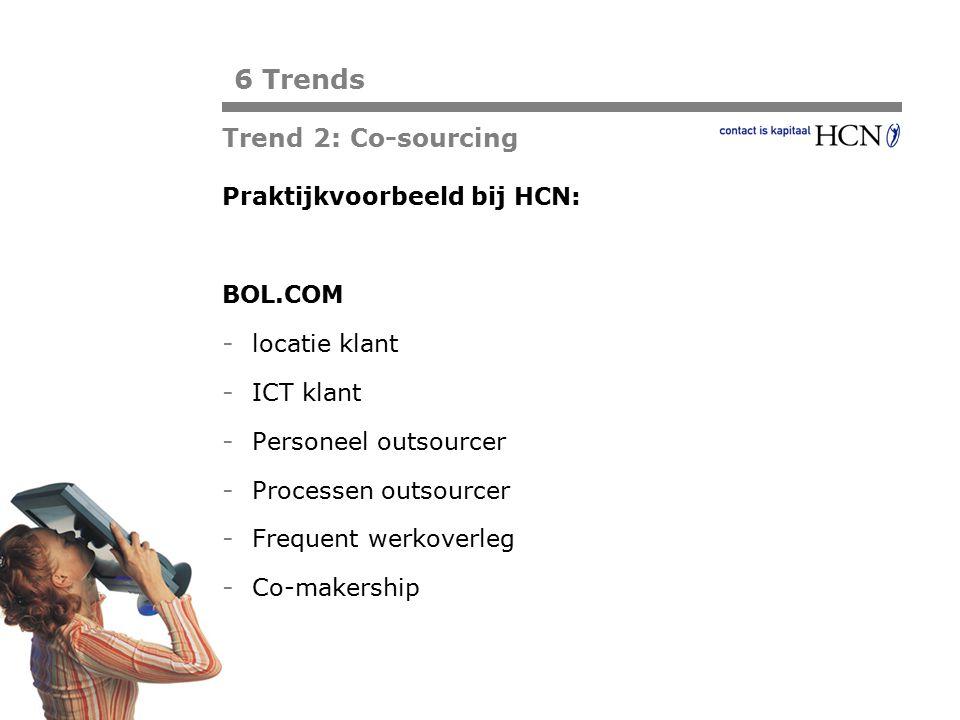 6 Trends Trend 2: Co-sourcing Praktijkvoorbeeld bij HCN: BOL.COM