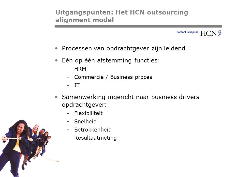 Uitgangspunten: Het HCN outsourcing alignment model