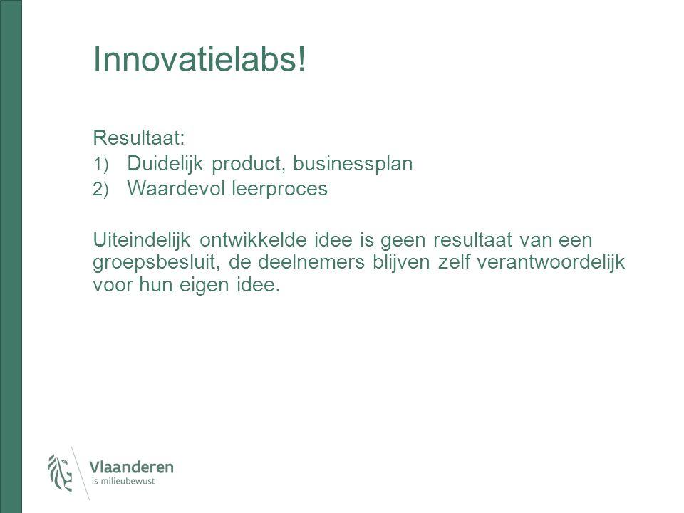Innovatielabs! Resultaat: Duidelijk product, businessplan