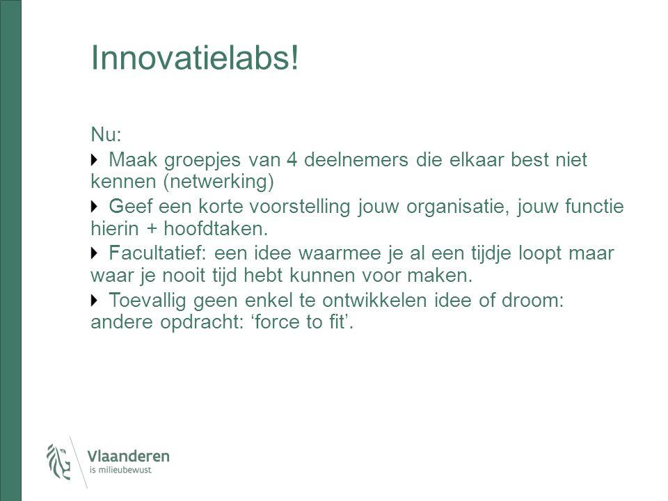 Innovatielabs! Nu: Maak groepjes van 4 deelnemers die elkaar best niet kennen (netwerking)