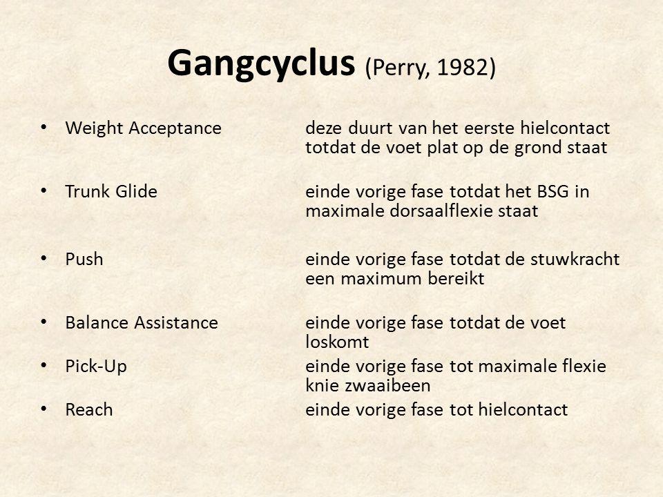 Gangcyclus (Perry, 1982) Weight Acceptance deze duurt van het eerste hielcontact totdat de voet plat op de grond staat.