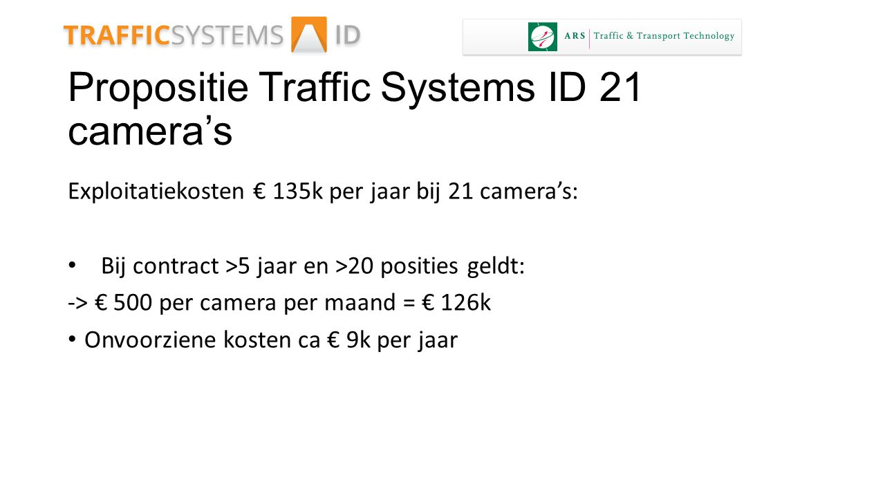 Propositie Traffic Systems ID 21 camera's
