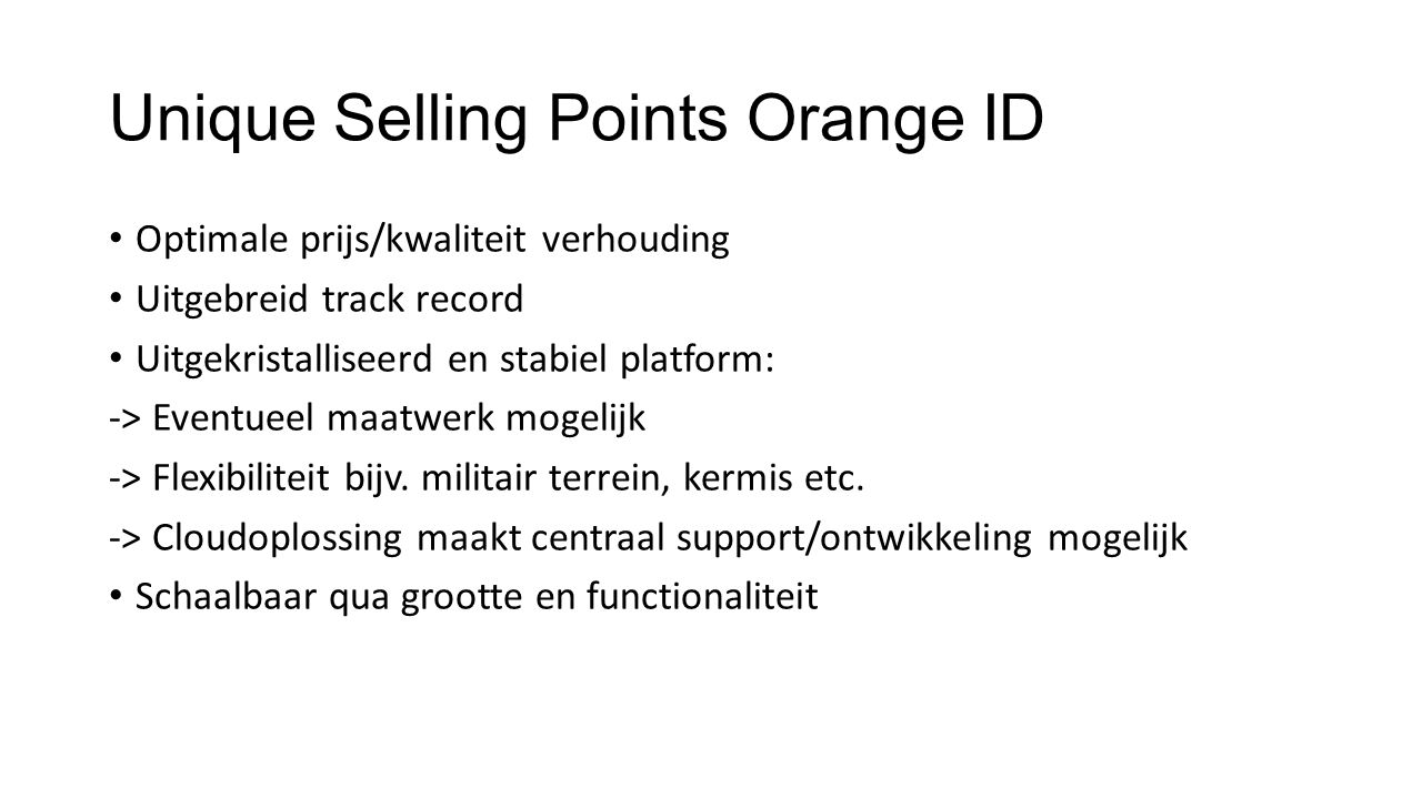 Unique Selling Points Orange ID