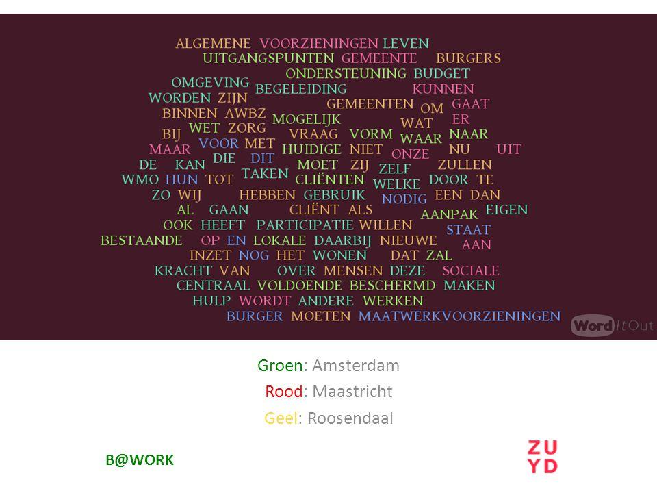 Groen: Amsterdam Rood: Maastricht Geel: Roosendaal