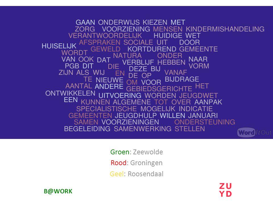Groen: Zeewolde Rood: Groningen Geel: Roosendaal