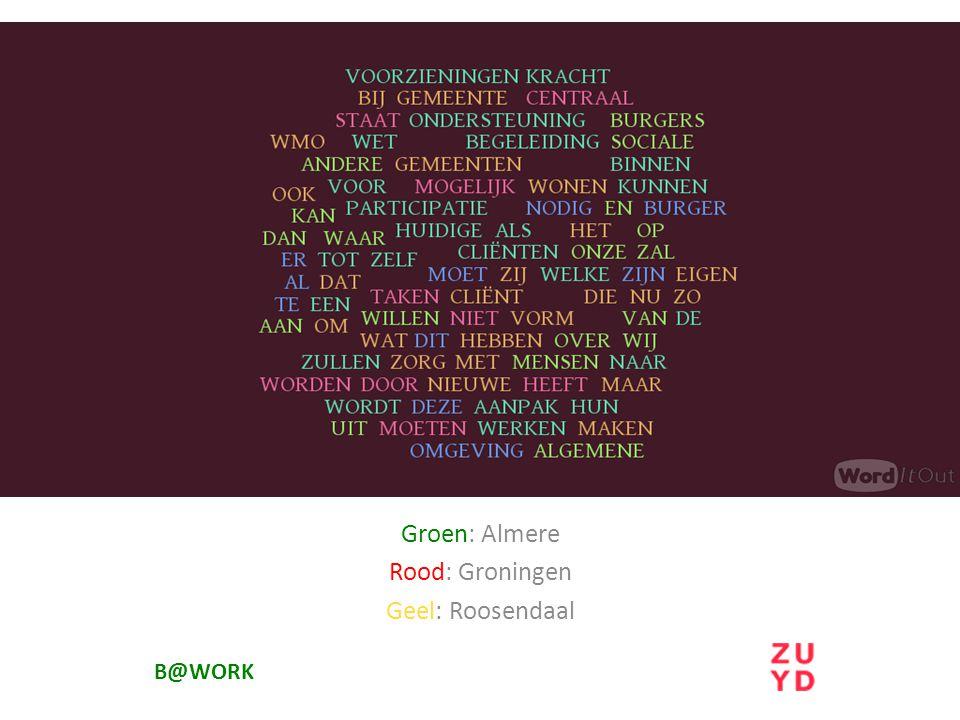 Groen: Almere Rood: Groningen Geel: Roosendaal
