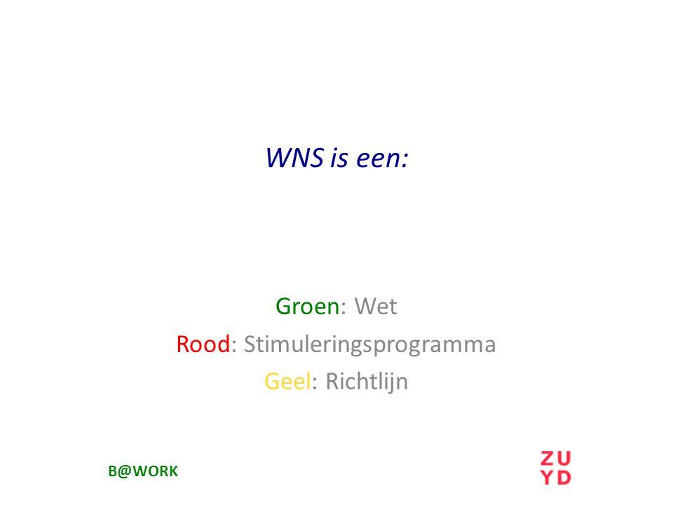 Groen: Wet Rood: Stimuleringsprogramma Geel: Richtlijn