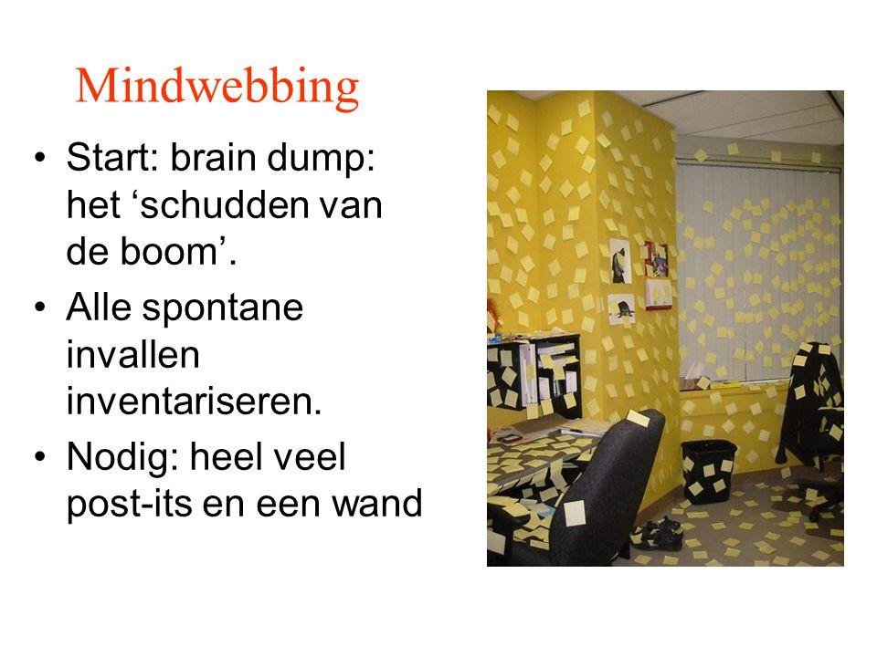 Mindwebbing Start: brain dump: het 'schudden van de boom'.