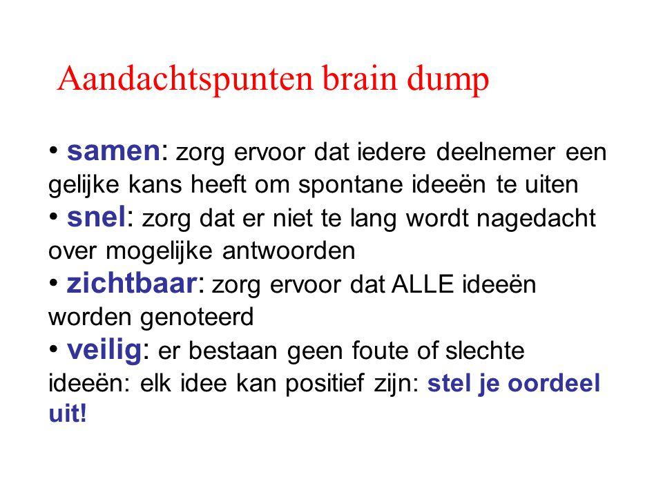 Aandachtspunten brain dump