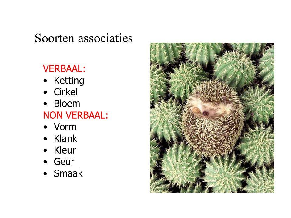 Soorten associaties VERBAAL: Ketting Cirkel Bloem NON VERBAAL: Vorm