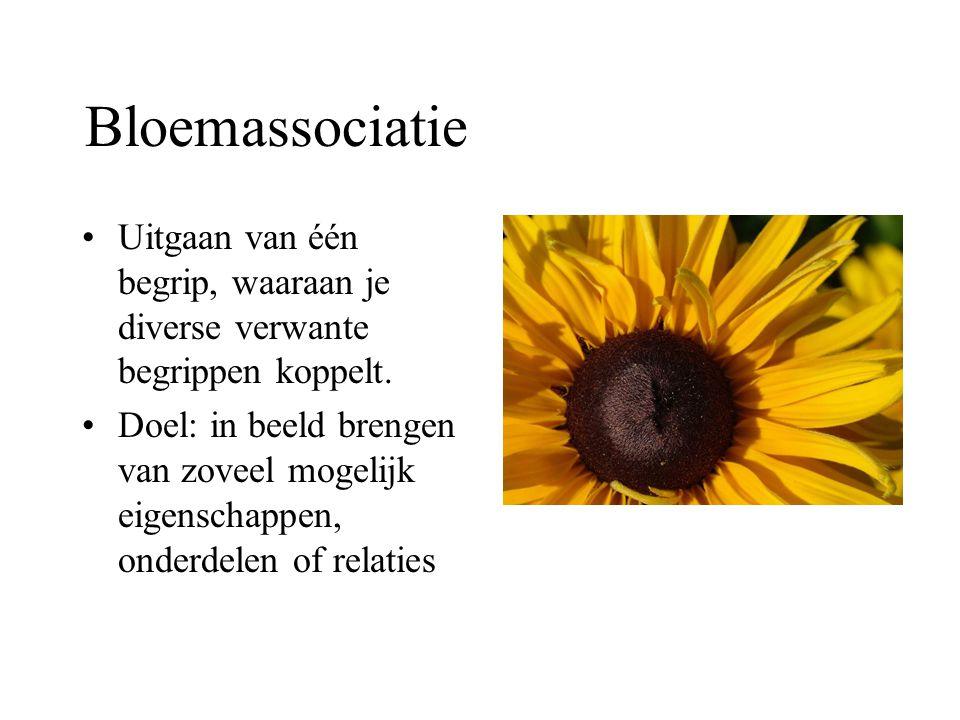 Bloemassociatie Uitgaan van één begrip, waaraan je diverse verwante begrippen koppelt.