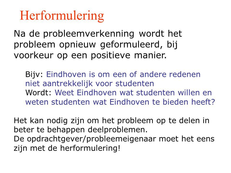 Herformulering Na de probleemverkenning wordt het probleem opnieuw geformuleerd, bij voorkeur op een positieve manier.