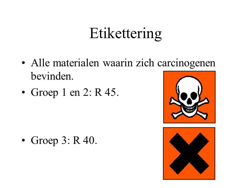 Etikettering Alle materialen waarin zich carcinogenen bevinden.