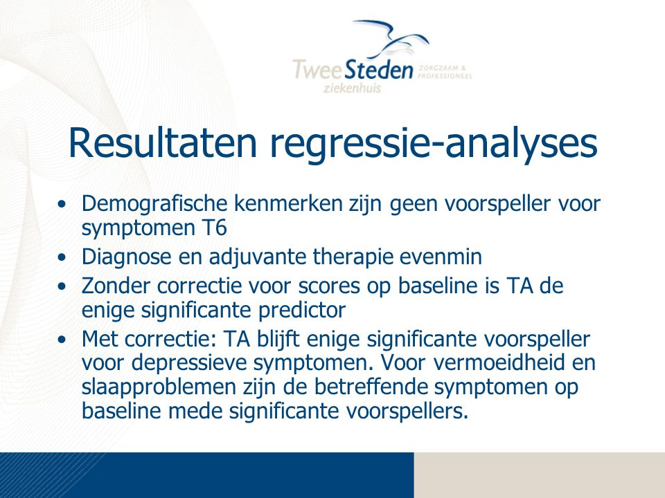 Resultaten regressie-analyses
