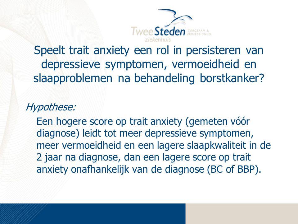 Speelt trait anxiety een rol in persisteren van depressieve symptomen, vermoeidheid en slaapproblemen na behandeling borstkanker