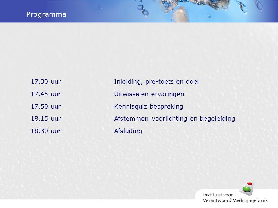 Programma 17.30 uur Inleiding, pre-toets en doel