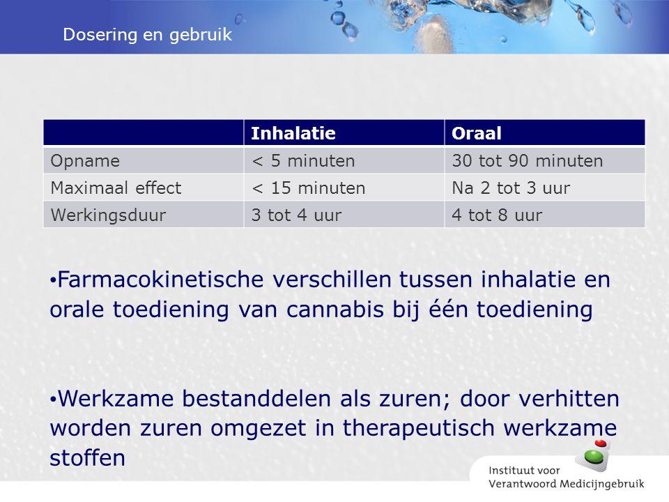 Dosering en gebruik Inhalatie. Oraal. Opname. < 5 minuten. 30 tot 90 minuten. Maximaal effect.