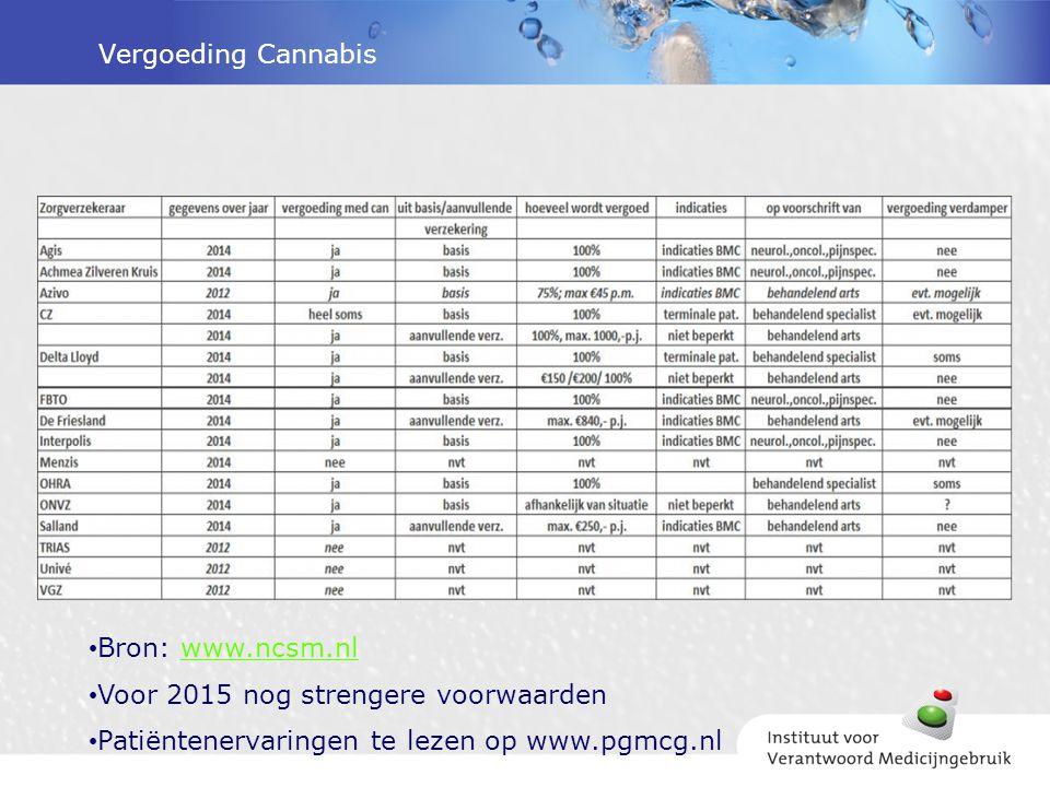 Vergoeding Cannabis Bron: www.ncsm.nl. Voor 2015 nog strengere voorwaarden.