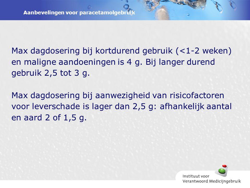 Aanbevelingen voor paracetamolgebruik