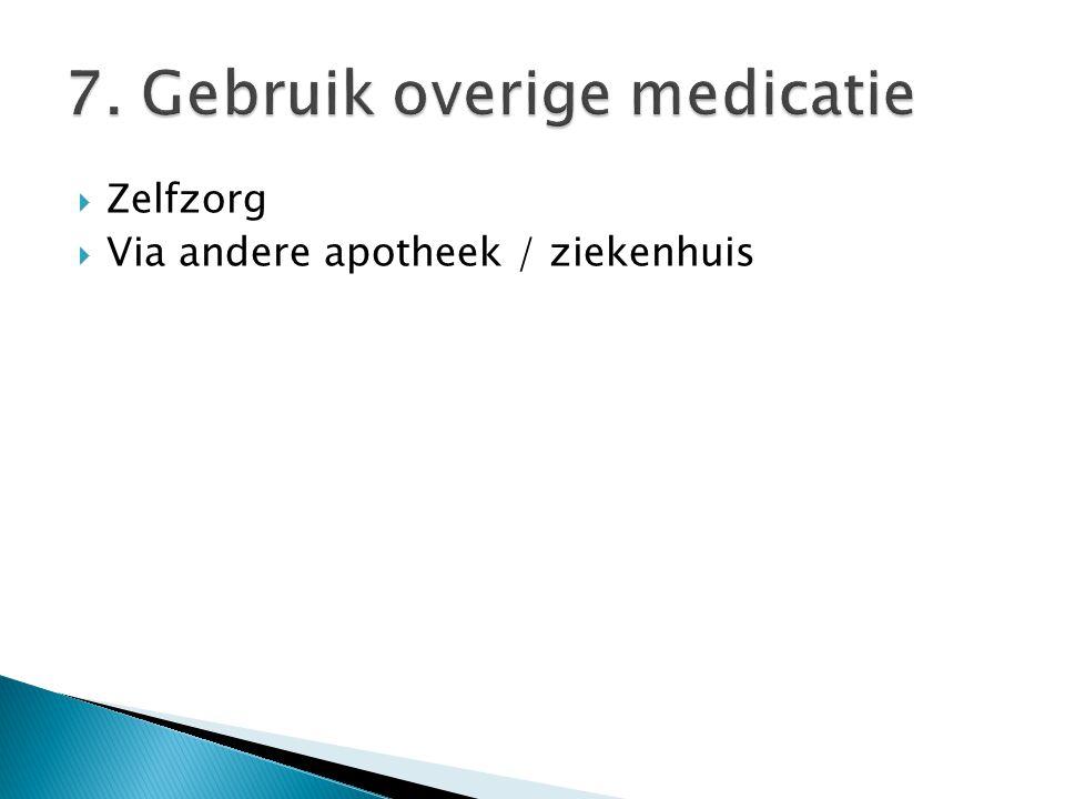 7. Gebruik overige medicatie