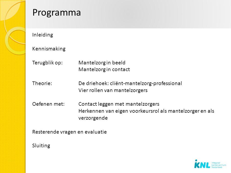 Programma Inleiding Kennismaking Terugblik op: Mantelzorg in beeld