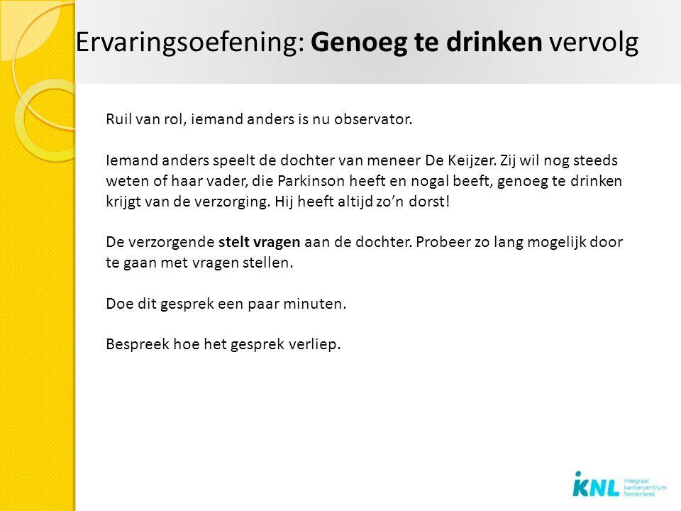 Ervaringsoefening: Genoeg te drinken vervolg