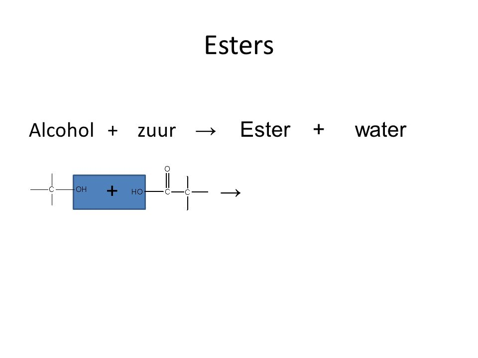 Esters Alcohol + zuur → Ester + water + →