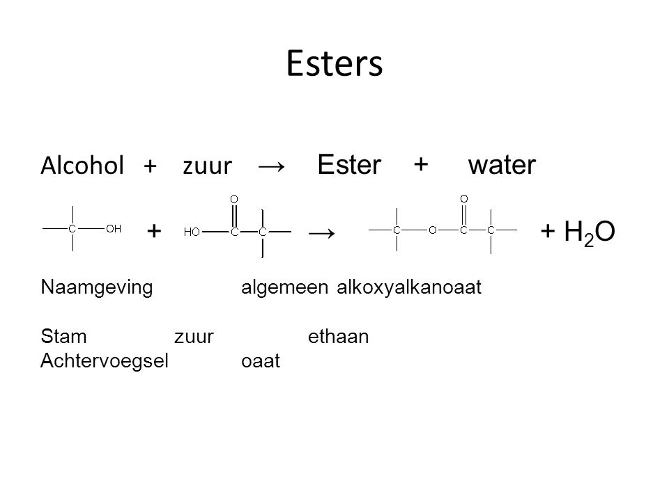 Esters Alcohol + zuur → Ester + water + → + H2O