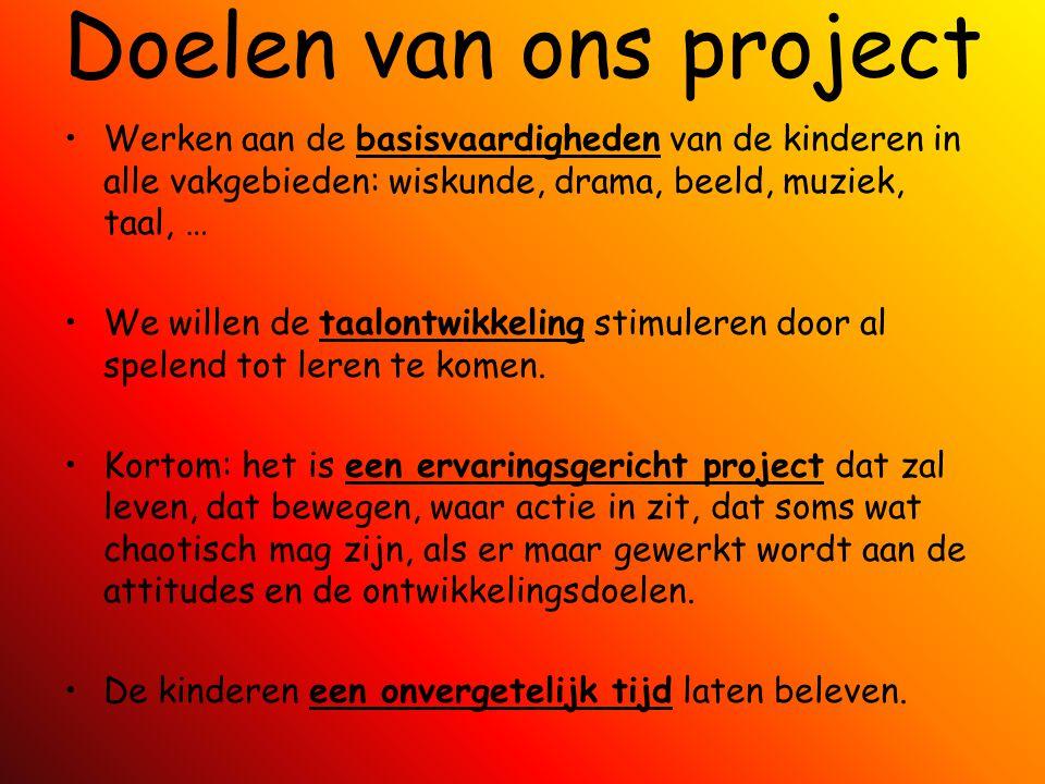 Doelen van ons project Werken aan de basisvaardigheden van de kinderen in alle vakgebieden: wiskunde, drama, beeld, muziek, taal, …