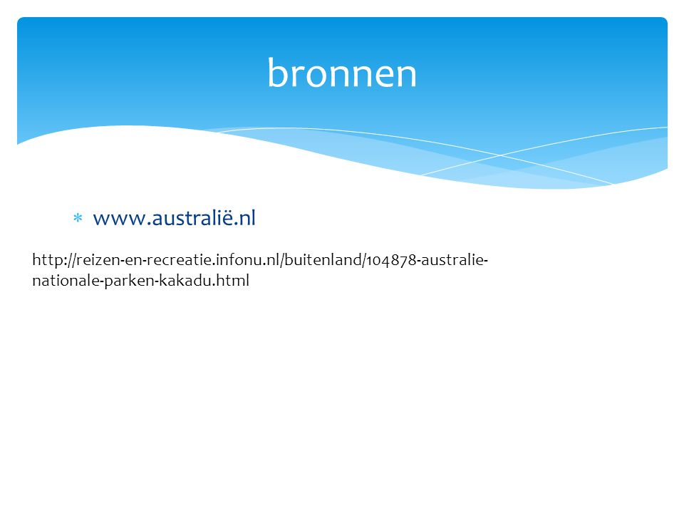 bronnen www.australië.nl