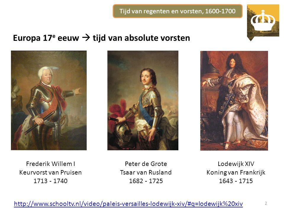 Tijd van regenten en vorsten, 1600-1700