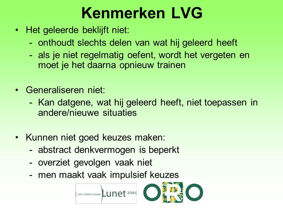 Kenmerken LVG Het geleerde beklijft niet:
