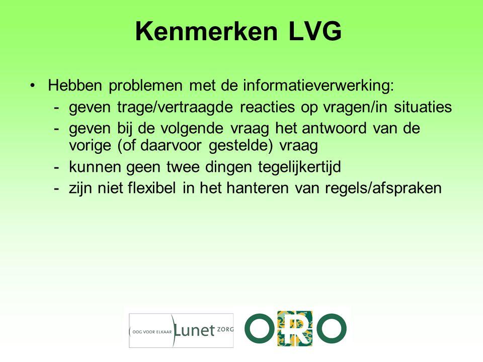 Kenmerken LVG Hebben problemen met de informatieverwerking: