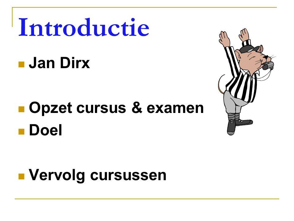 Introductie Jan Dirx Opzet cursus & examen Doel Vervolg cursussen