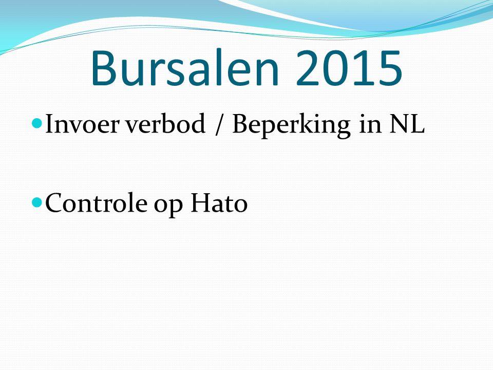 Bursalen 2015 Invoer verbod / Beperking in NL Controle op Hato