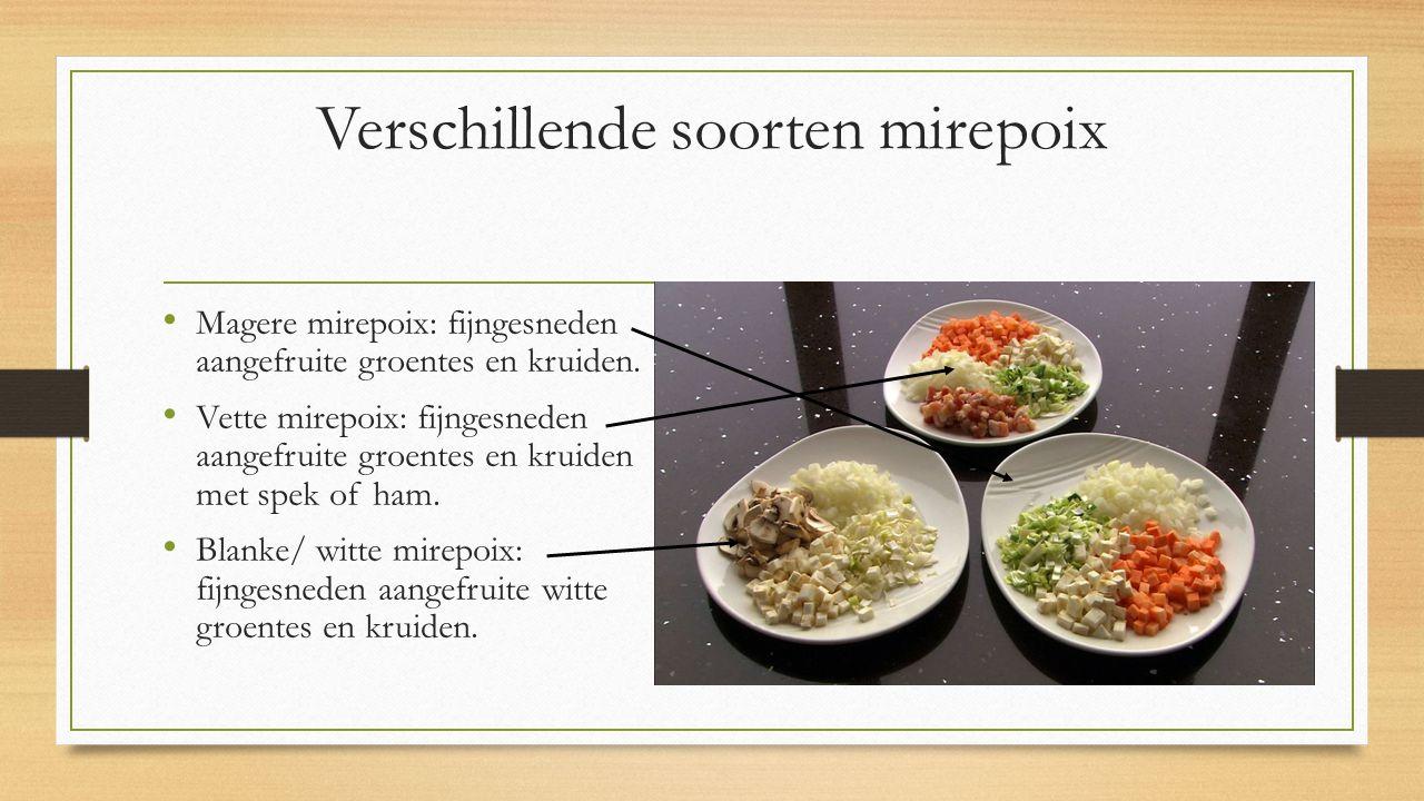 Verschillende soorten mirepoix