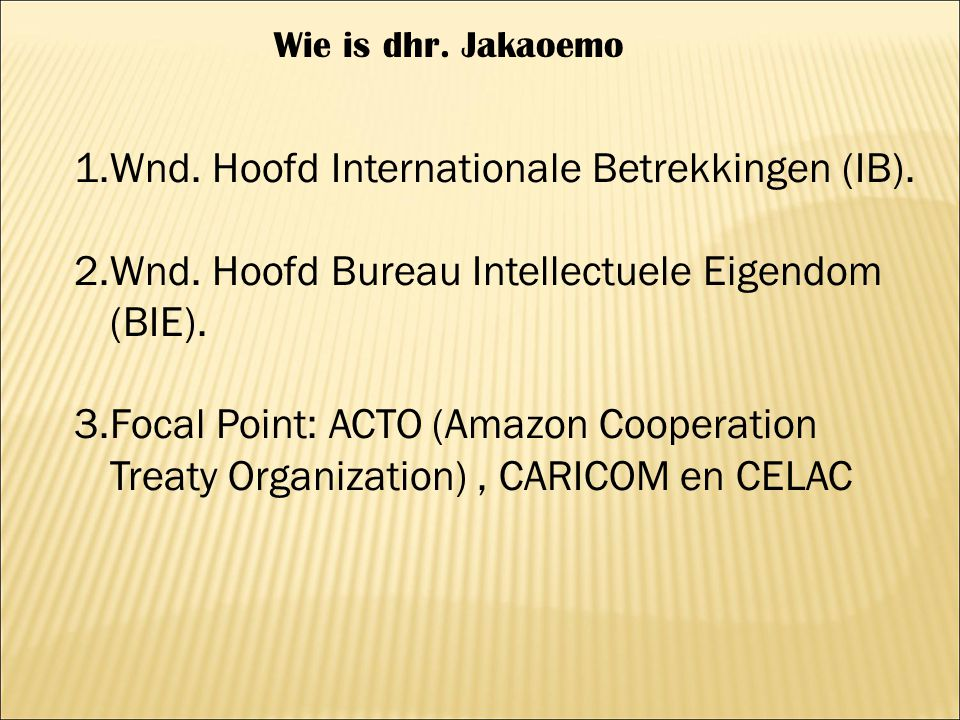Wnd. Hoofd Internationale Betrekkingen (IB).