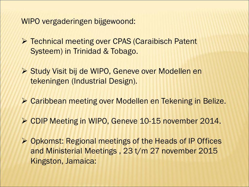 WIPO vergaderingen bijgewoond: